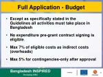 full application budget