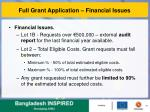full grant application financial issues