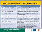 full grant application risks and mitigation