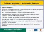 full grant application sustainability examples
