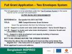 full grant application two envelopes system