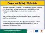 preparing activity schedule