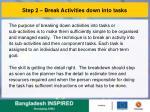step 2 break activities down into tasks