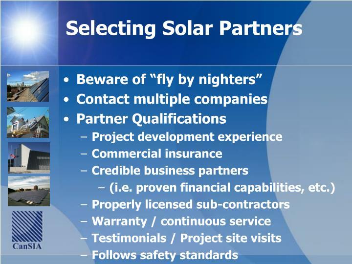 Selecting Solar Partners