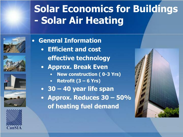 Solar Economics for Buildings