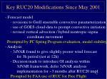 key ruc20 modifications since may 2001