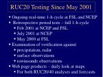 ruc20 testing since may 2001