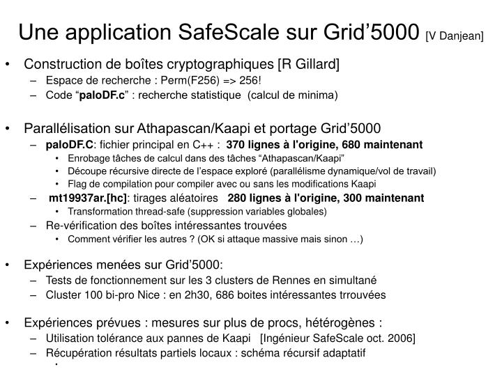 Une application safescale sur grid 5000 v danjean