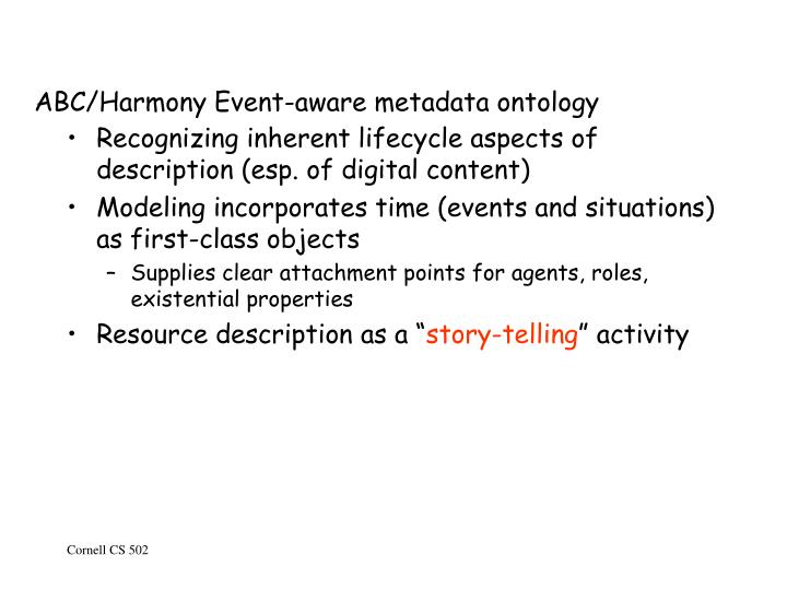 ABC/Harmony Event-aware metadata ontology