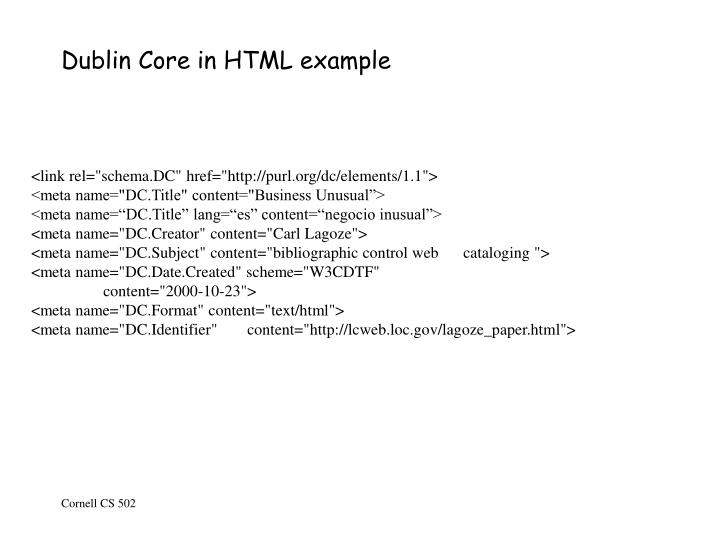 Dublin Core in HTML example