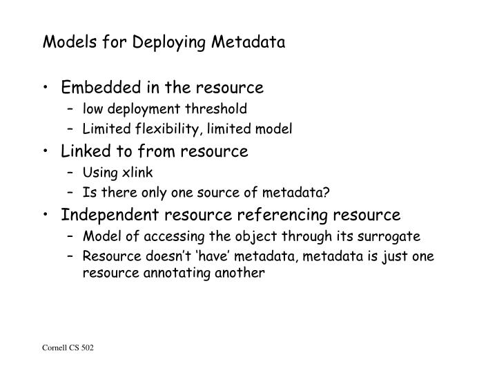 Models for Deploying Metadata