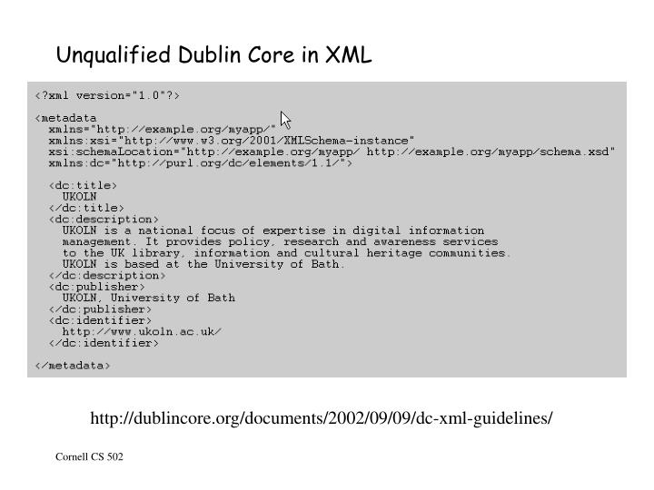Unqualified Dublin Core in XML
