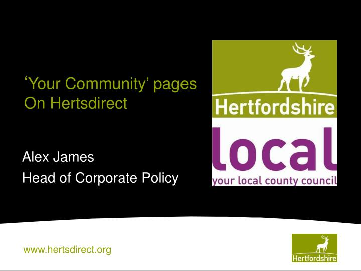 your community pages on hertsdirect n.