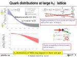 quark distributions at large k t lattice