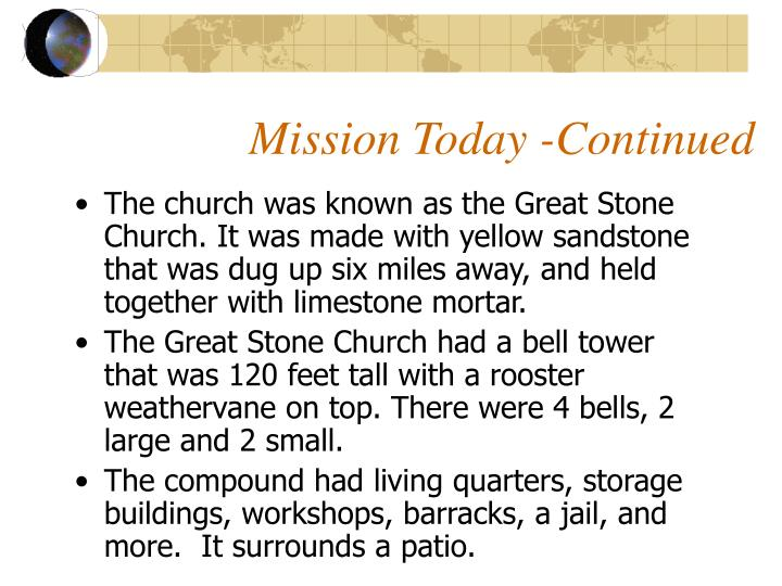 Mission Today -Continued