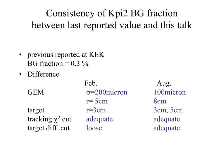 Consistency of Kpi2 BG fraction