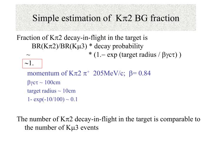 Simple estimation of k p 2 bg fraction