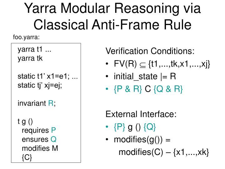 Yarra Modular Reasoning via Classical Anti-Frame Rule