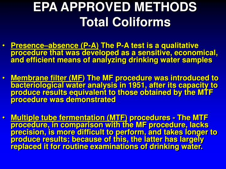 EPA APPROVED METHODS