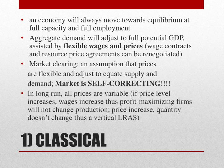 an economy will always move towards equilibrium at full capacity and full employment
