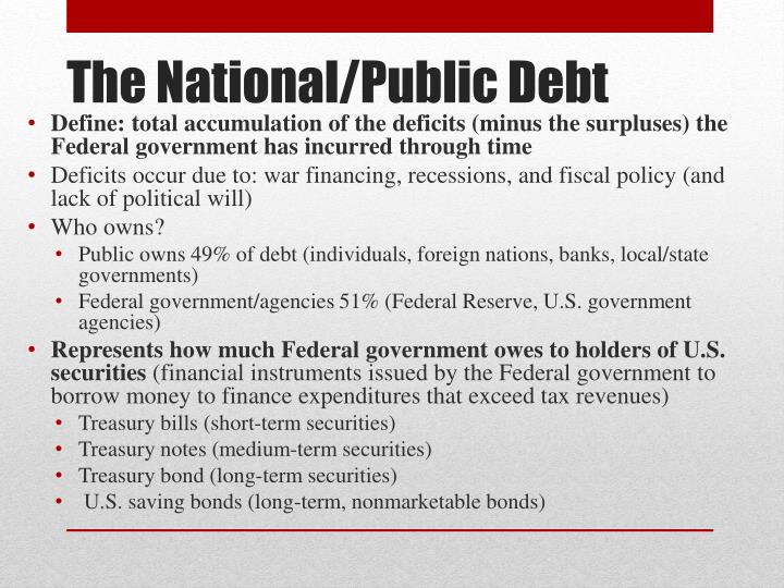 Define: total accumulation of the deficits (minus the surpluses) the Federal government has incurred through time