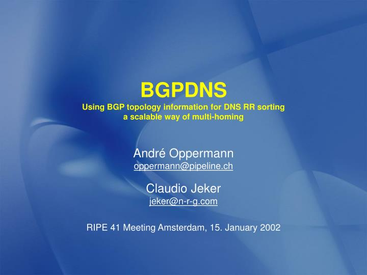 bgpdns using bgp topology information for dns rr sorting a scalable way of multi homing