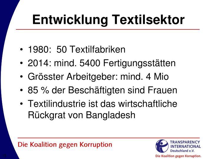 Entwicklung Textilsektor