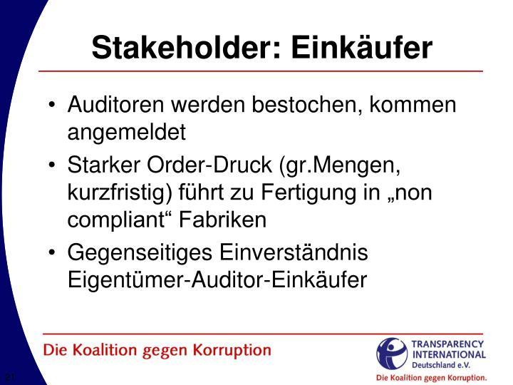 Stakeholder: Einkäufer