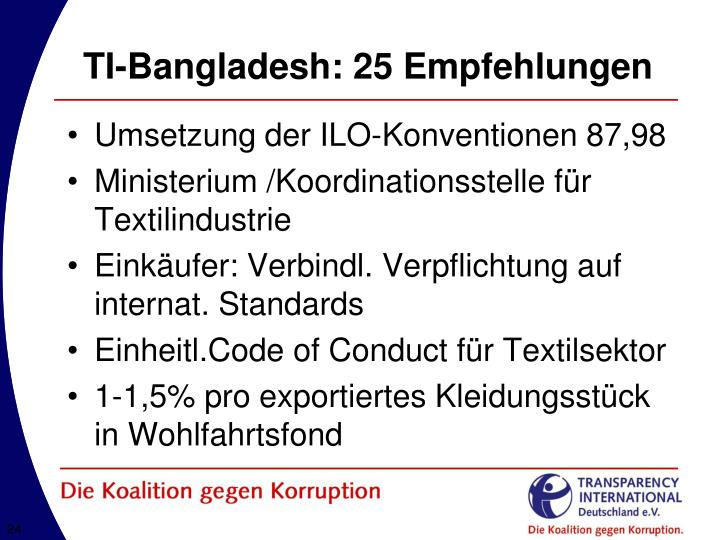 TI-Bangladesh: 25 Empfehlungen
