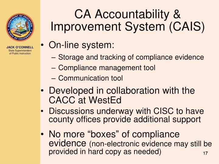 CA Accountability & Improvement System (CAIS)