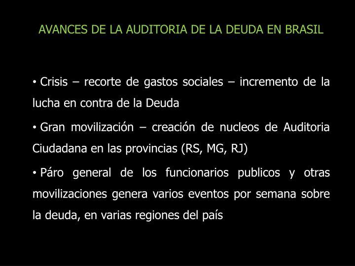 AVANCES DE LA AUDITORIA DE LA DEUDA EN BRASIL