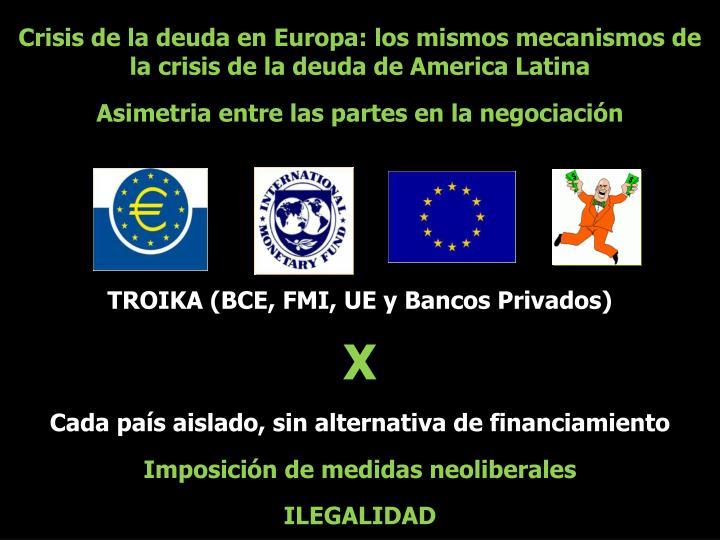 Crisis de la deuda en Europa: los mismos mecanismos de la crisis de la deuda de America Latina