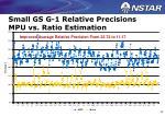 small gs g 1 relative precisions mpu vs ratio estimation