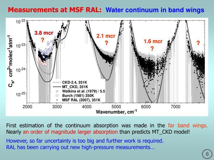 Measurements at MSF RAL: