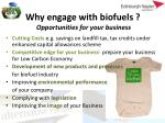 why engage with biofuels opportunities for your business