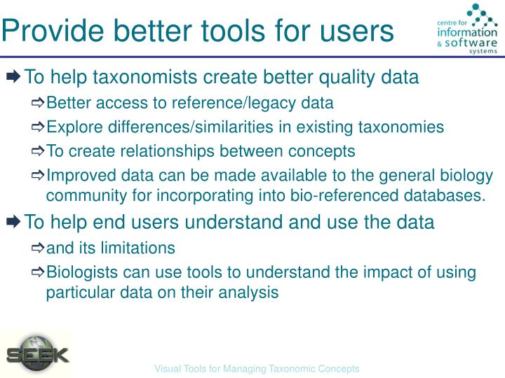 Provide better tools for users