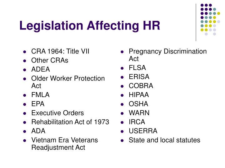 Legislation affecting hr
