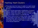 hashing hash clusters
