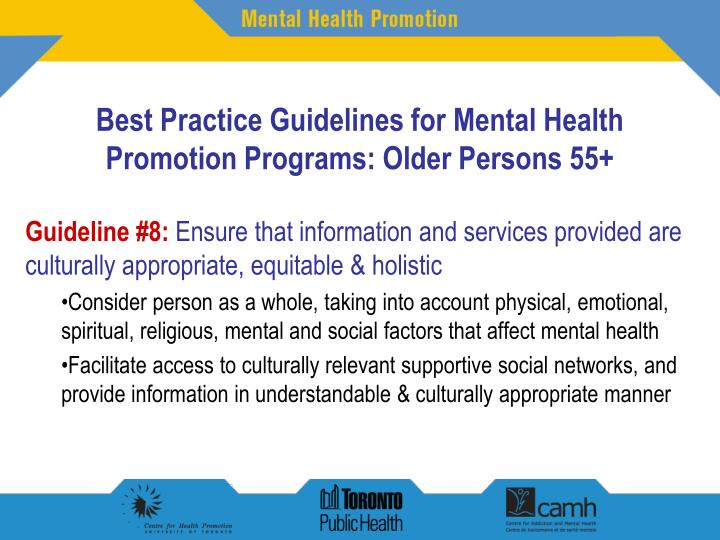 mental health promotion Promotion and prevention in mental health: report to congress requested in senate report 109-103 and conference report 109-337 submitted by the us department of health and human services.