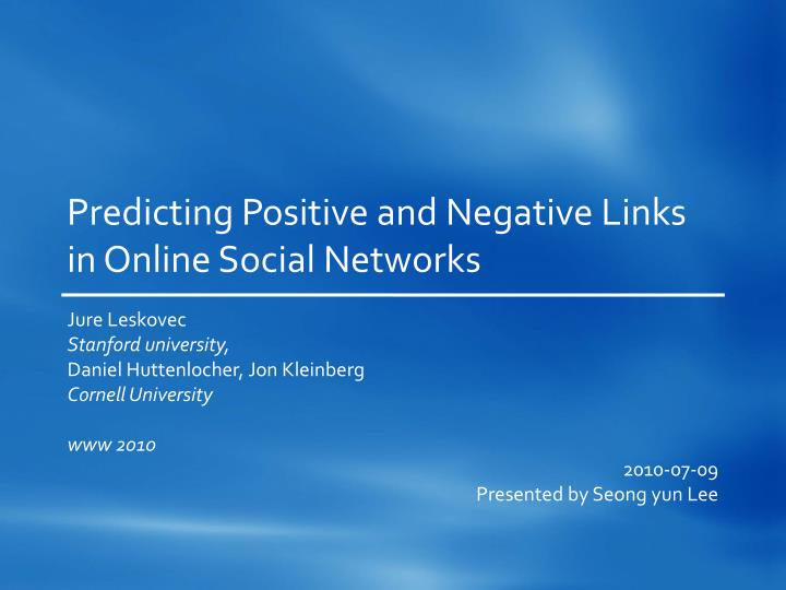 predicting positive and negative links in online social networks n.