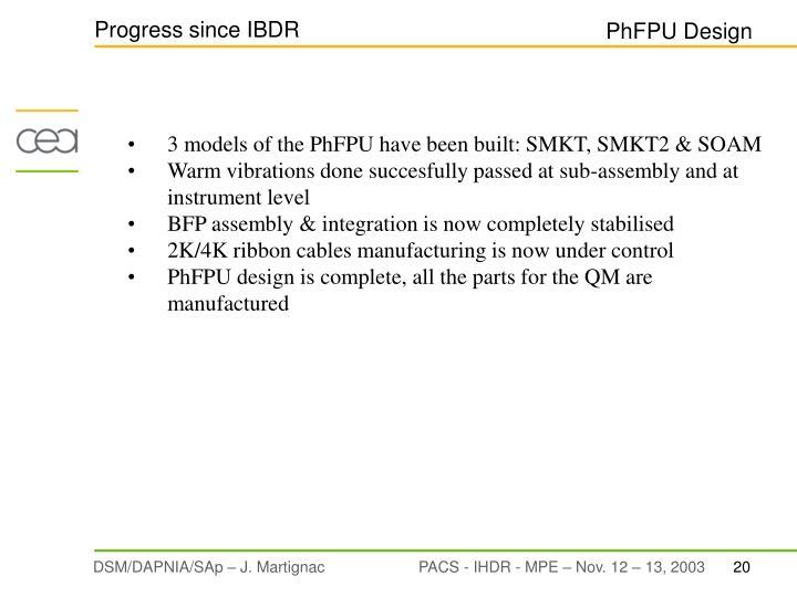 Progress since IBDR