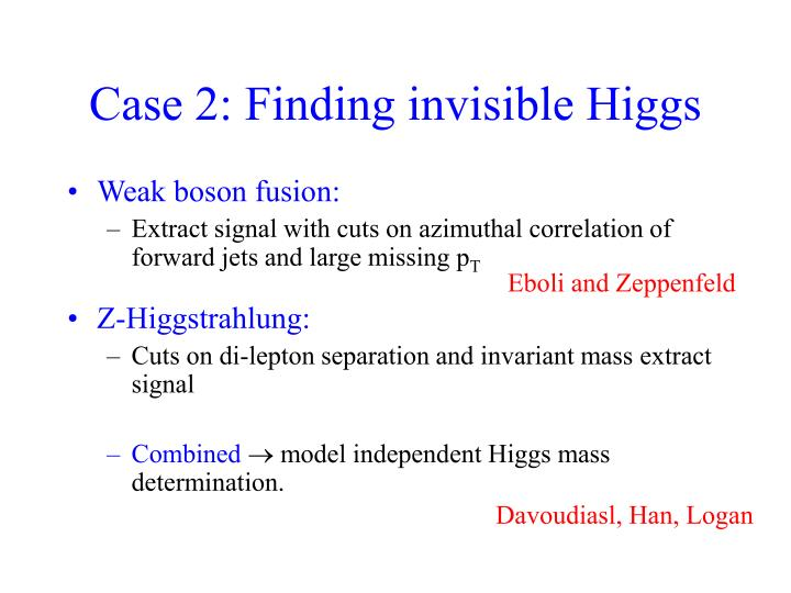 Case 2: Finding invisible Higgs