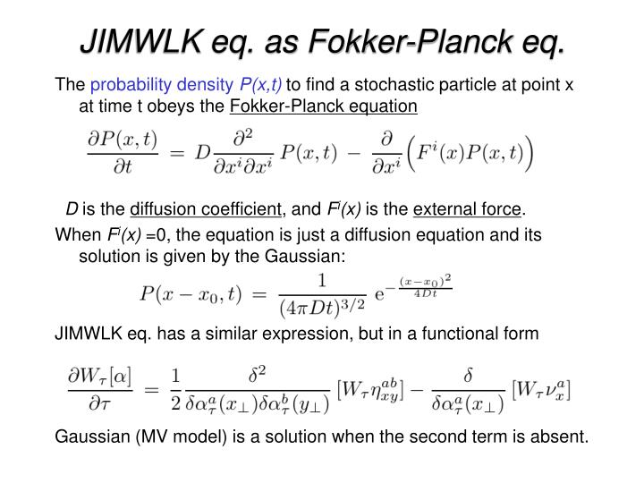 JIMWLK eq. as Fokker-Planck eq.