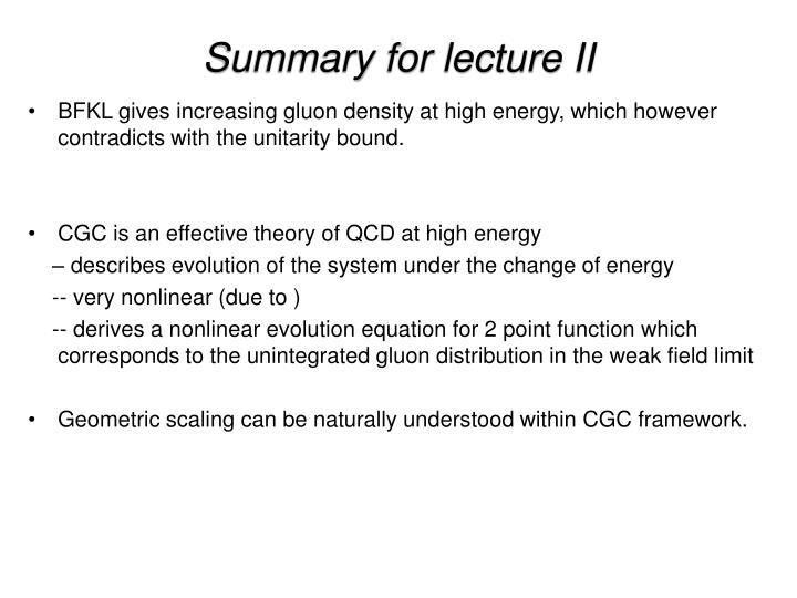 Summary for lecture II