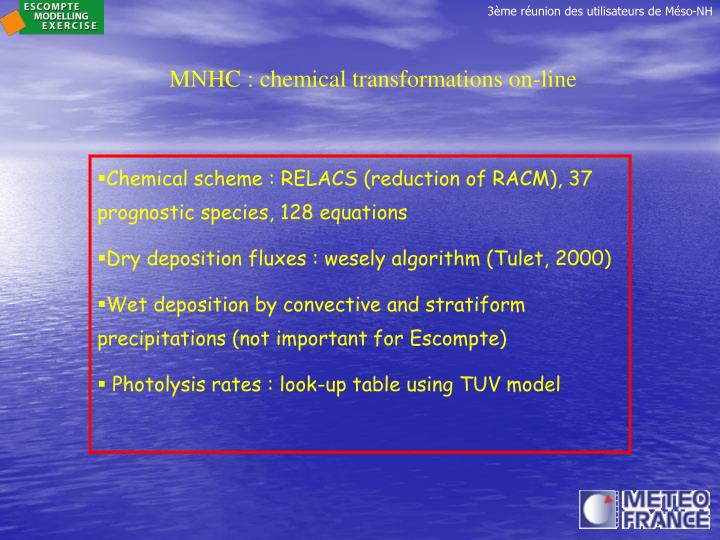 MNHC : chemical transformations on-line