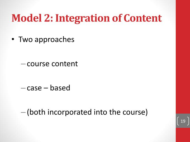 Model 2: Integration of Content