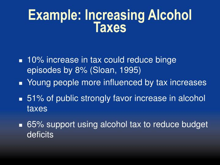Example: Increasing Alcohol Taxes
