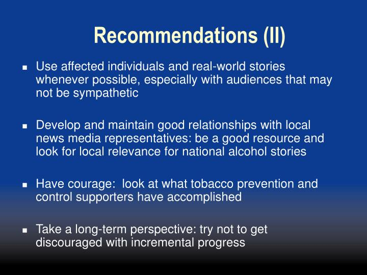 Recommendations (II)