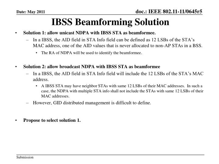 IBSS Beamforming Solution