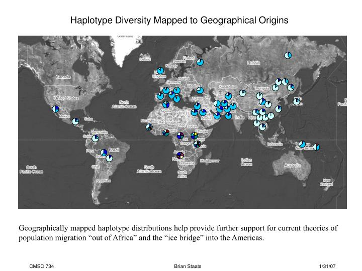 Haplotype Diversity Mapped to Geographical Origins